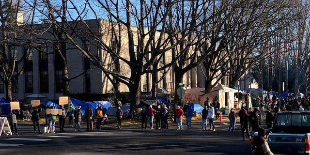This undated photo shows protesters outside of Bellingham's City Hall where a homeless encampment has taken root.
