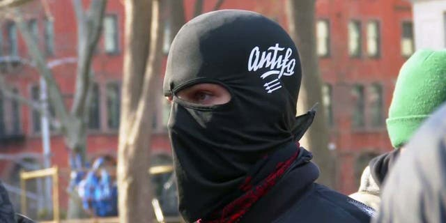 An Antifa protester during a march in New York City