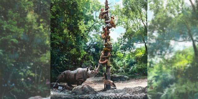 An illustration published by the Disney Parks Blog of a new scene at work on the Jungle Cruise ride.