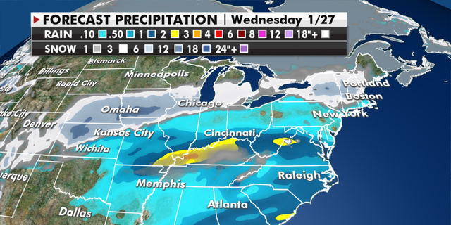 Expected rain and snowfall totals by mid-week. (Fox News)