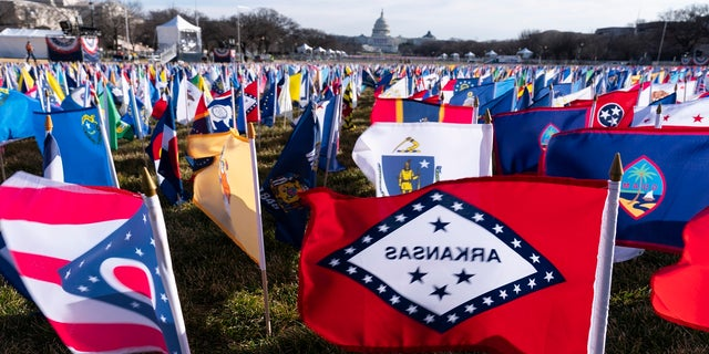 State flags are placed on the National Mall ahead of the inauguration. (AP)