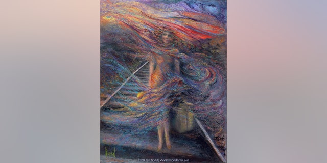 Impressionist painting of a woman walking down a railroad track with a suitcase in her hand, accompanied by this poem, also by Kim Novak: 'Finding my way to find myself, by myself, in my own way, To be seen and be heard for keeping my word; And at the end of the day, fly off like a bird!'