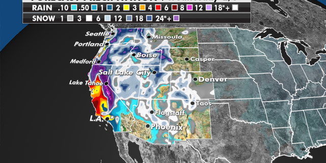 Expected rain and snowfall totals in the western U.S. (Fox News)