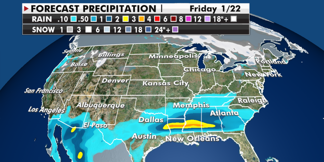 Expected precipitation totals for the coming days. (Fox News)