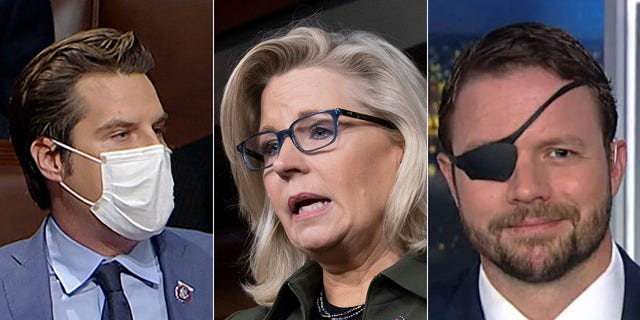 (L-R) Republican Reps. Matt Gaetz, Liz Cheney and Dan Crenshaw