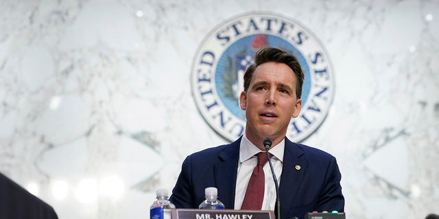 Sen. Josh Hawley (R-Mo.) speaks during a confirmation hearing for Supreme Court nominee Amy Coney Barrett before the Senate Judiciary Committee on Capitol Hill on Oct. 12, 2020. in Washington, D.C. Hawley talked judicial nominations with Fox News on Friday at CPAC. (Susan Walsh - Pool/Getty Images)