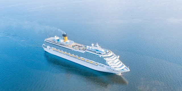 An aerial view of the Costa Magica cruise ship near Saint Petersburg, Russia.