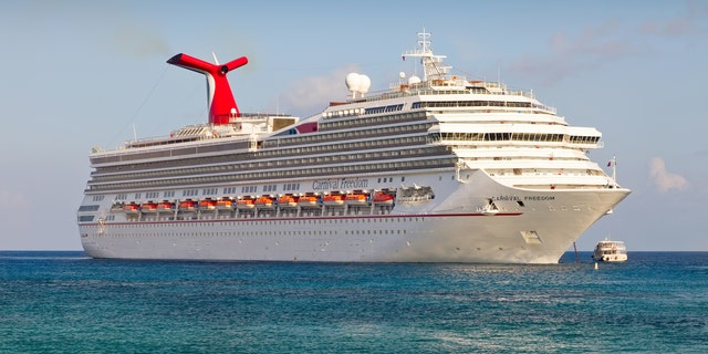 The Carnival's Freedom cruise ship anchored in the Caribbean Sea.