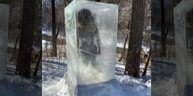 Minneapolis hikers surprised by frozen caveman sculpture