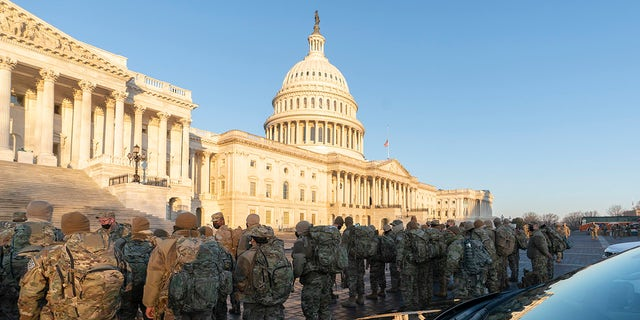 Members of the National Guard assemble on Capitol Hill on Jan. 12. Photo Credit: Chris Kleponis/Sipa USA
