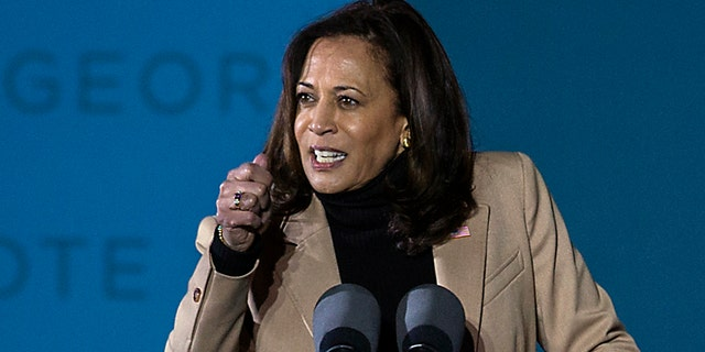 Vice President-elect Kamala Harris speaking at a drive-in rally in Savannah, Ga., during a campaign stop Jan. 3.
