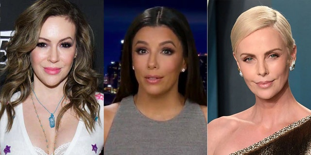 Van links: Alyssa Milano, Eva Longoria and Charlize Theron have all signed a letter supporting temporary basic income for struggling mothers during the pandemic.