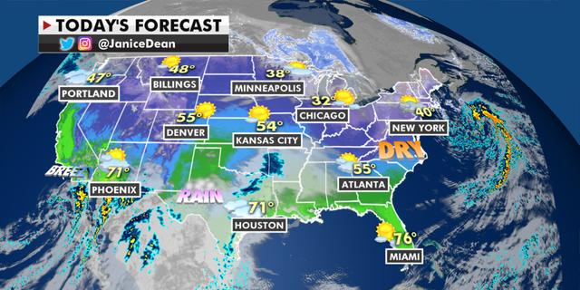 The national forecast for Wednesday, Jan. 20. (Fox News)