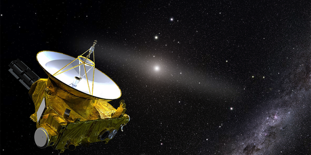 The artist's illustration shows NASA's New Horizons spacecraft located in the outer solar system. In the background is the sun and the luminous band representing the zodiac light, which is reflected from the dust by sunlight. By going beyond the inner solar system and its accompanying light pollution, New Horizons is able to answer the following questions: How dark is space? In the lower right corner is the background star of the Milky Way.  (Image source: Joe Olmstead)