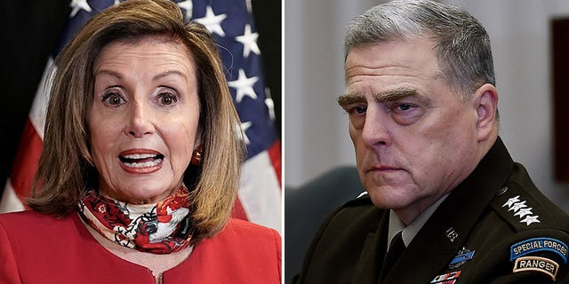 House Speaker Nancy Pelosi and Army Gen. Mark Milley, chairman of the Joint Chiefs of Staff. (Associated Press/Getty Images)