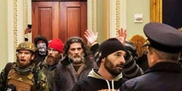 Pezzola seen inside the U.S. Capitol on Jan. 6. (Justice Department)