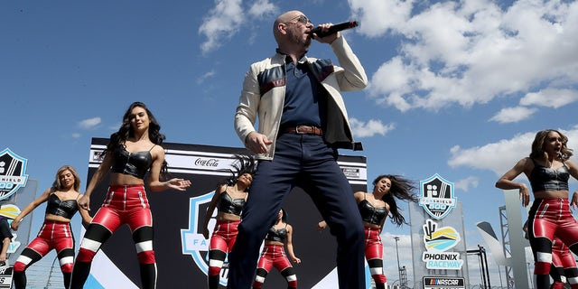 Pitbull performed before the NASCAR Cup Series FanShield 500 at Phoenix Raceway last March.