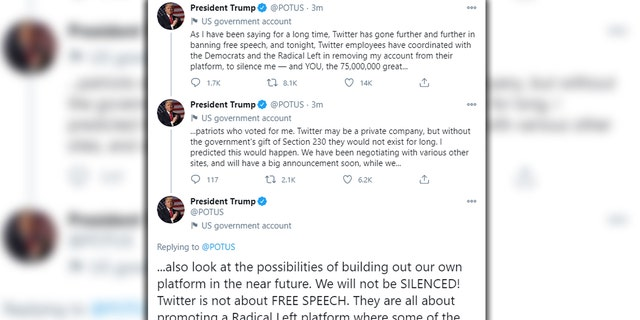 A screengrab showing three tweets removed from the official @POTUS account