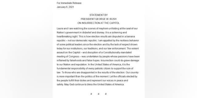 president bush statement