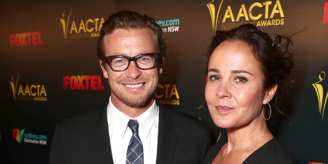 Simon Baker (L) and wife Rebecca Rigg (R) have split after 29 years of marriage.