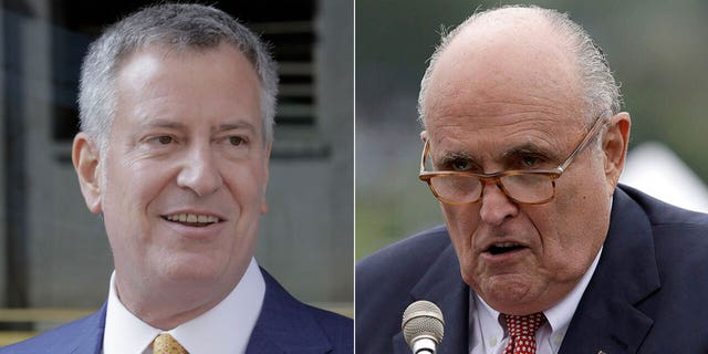 NewYork City Mayor Bill de Blasio, left, garnered a measly 28 percent favorable rating compared to Rudy Giuliani's 32 percent in the survey released Tuesday.