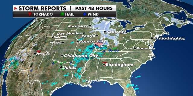 Storms across the U.S. in the last 48 hours. (Fox News)