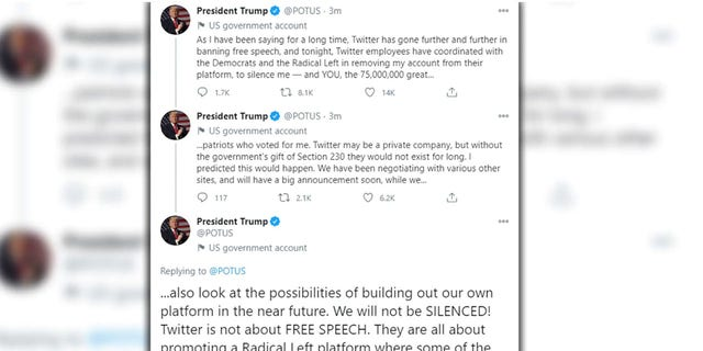 Screengrap showing three tweets removed from the official @POTUS account