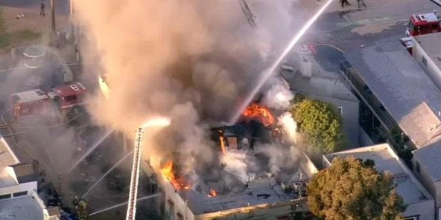 Firefighters battled the blaze in Venice Beach.