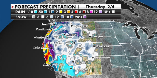Forecasted precipitation totals for the western U.S. (福克斯新闻)
