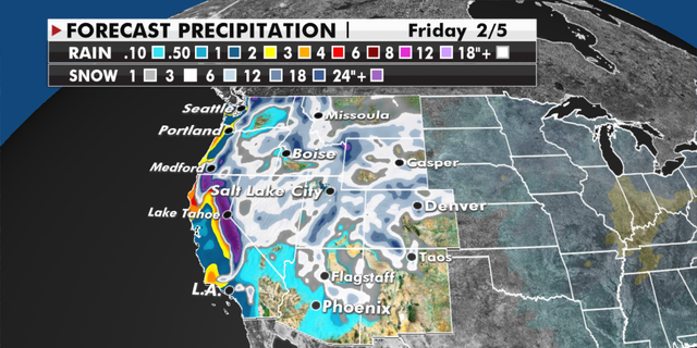 Forecasted precipitation totals for the western U.S. (Fox News)