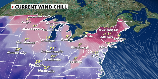 Current wind cooling conditions over the Midwest and Northeast.  (Fox news)