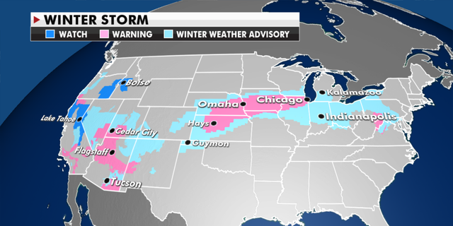 Winter weather watches, warnings and advisories that are in effect. (Fox News)