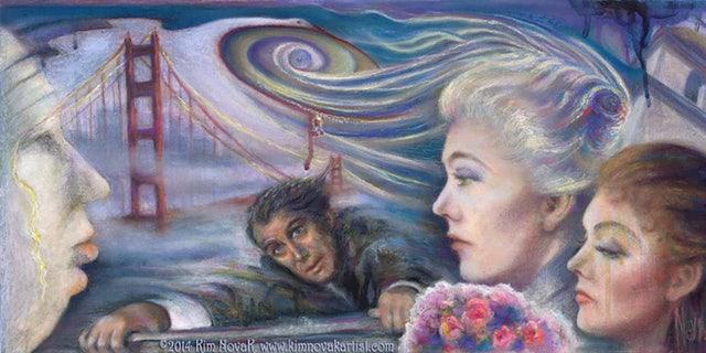 'Vertigo / Vortex of Delusion' - Pastel painting by Kim Novak depicting the essence of the 1958 Alfred Hitchcock film 'Vertigo' in which she starred with James Stewart