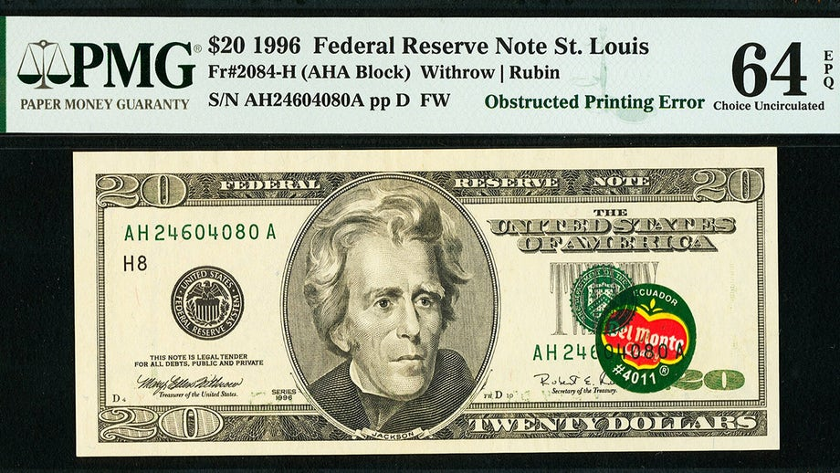 $20 bill with banana sticker expected to sell for upwards of $125G