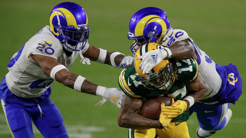 Davante Adams, Jalen Ramsey sideline confrontation ahead Packers-Rams game caught on mics