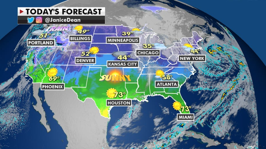 Cooler temperatures in the Southeast and Florida, active weather in the West