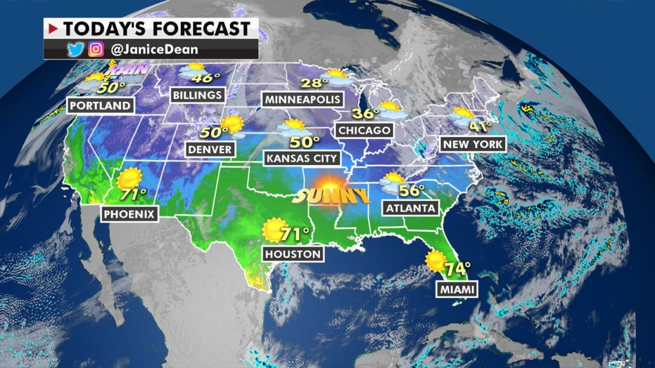 Storm systems move inland in the West, mostly sunny skies in Georgia