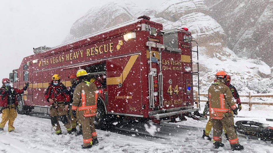 Las Vegas fire crews rescue hiker injured on 300-foot mountain during 'white out' snowstorm