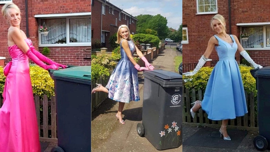 Woman dresses up to take out trash to amuse neighbors, fundraise for charity