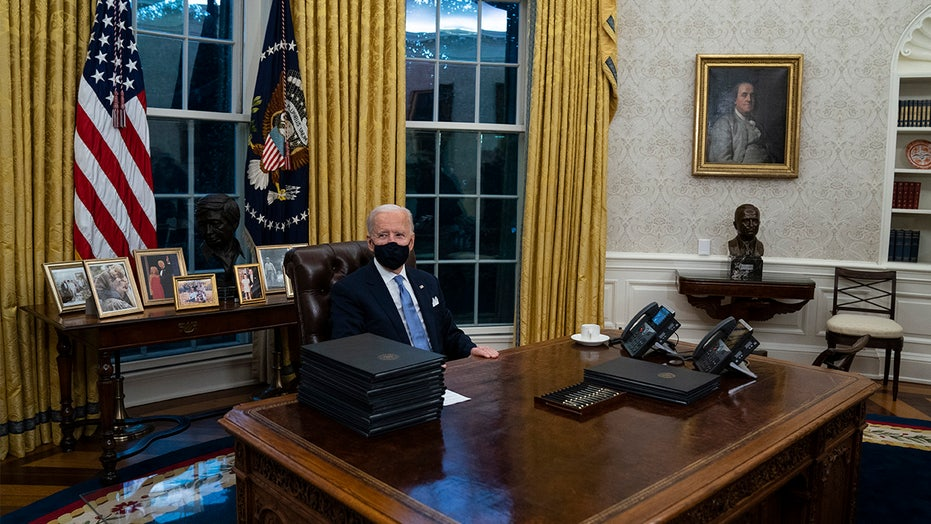 Biden ditches military flags as part of Oval Office makeover