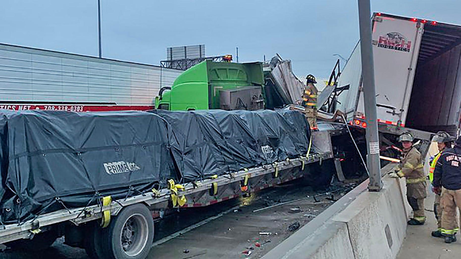 Fort Worth 100-vehicle pileup on icy Texas Interstate 35W leaves at least 5 dead, multiple people injured