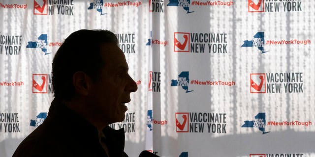FILE: Jan. 23, 2021 file photo, Gov. Andrew Cuomo speaks to reporters during a news conference at a COVID-19 pop-up vaccination site in the William Reid Apartments in the Brooklyn borough of New York.
