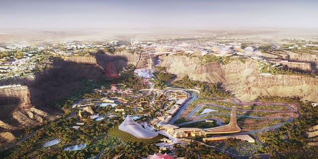 This rendering shows the future Six Flags Qiddiya outside Riyadh, Saudi Arabia.