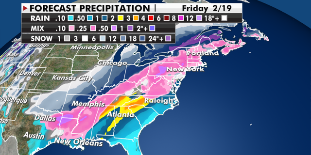 Expected rain and snowfall totals by the end of this week. (Fox News)