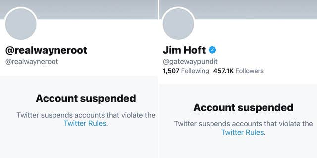 Twitter suspended Gateway Pundit founder Jim Hoft and radio host Wayne Allyn Root in February 2021. Screenshots