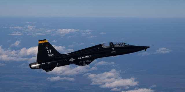A T-38 Talon flies over the Gulf of Mexico in March 2017.  (U.S Air Force photo by Master Sgt. Burt Traynor/Released)