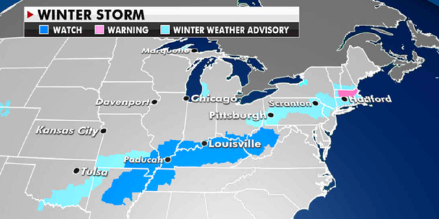Weather advisories in effect Tuesday . (Fox News)