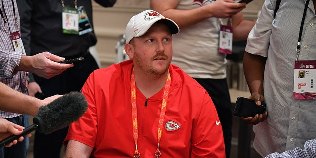Britt Reid, former linebackers coach for the Kansas City Chiefs speaks to the media during the Kansas City Chiefs media availability prior to Super Bowl LIV on Jan. 29, 2020, in Aventura, Fla. (Getty Images)
