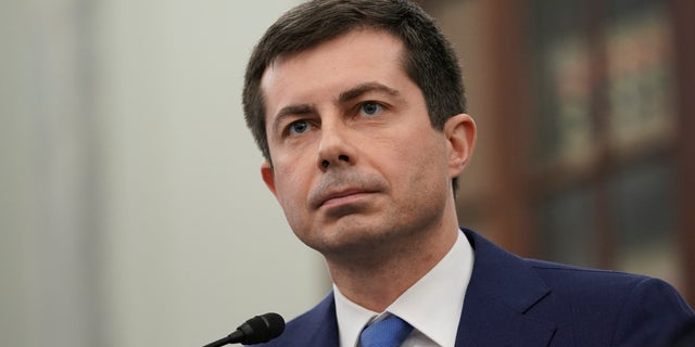 In this file photo on January 21, 2021, Pete Buttigieg, nominee for the Secretary of Transportation, speaks at the confirmation hearing of the Senate Committee on Commerce, Science, and Transportation on Capitol Hill in Washington.Buttigieg is one of the top secretaries in Biden's cabinet selling the presidential residence