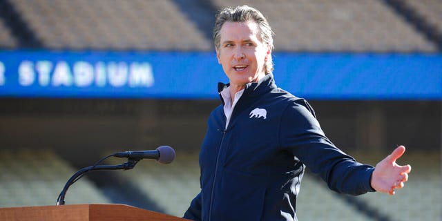FILE: Governor Gavin Newsom addresses a press conference held at the launch of a mass COVID-19 vaccination site at Dodger Stadium in Los Angeles.